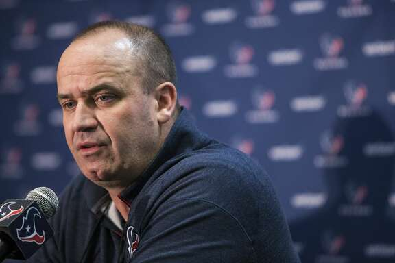 Houston Texans head coach Bill O'Brien talks about the Texans'  selection of quarterback Deshaun Watson, of Clemson, in the NFL Draft at NRG Stadium on Thursday, April 27, 2017, in Houston. ( Brett Coomer / Houston Chronicle )