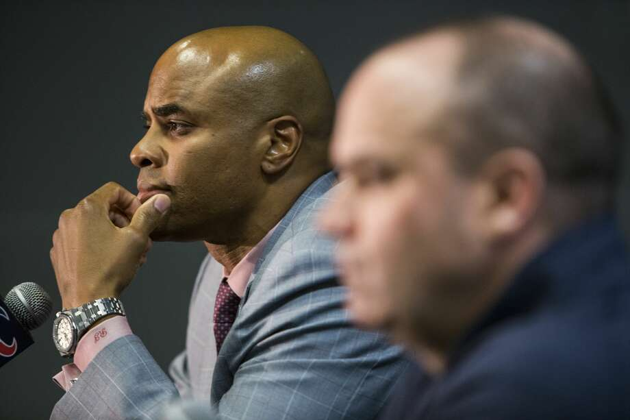 Houston Texans general manager Rick Smith, left, and head coach Bill O'Brien talk about the Texans'  selection of quarterback Deshaun Watson, of Clemson, in the NFL Draft at NRG Stadium on Thursday, April 27, 2017, in Houston. ( Brett Coomer / Houston Chronicle ) Photo: Brett Coomer/Houston Chronicle