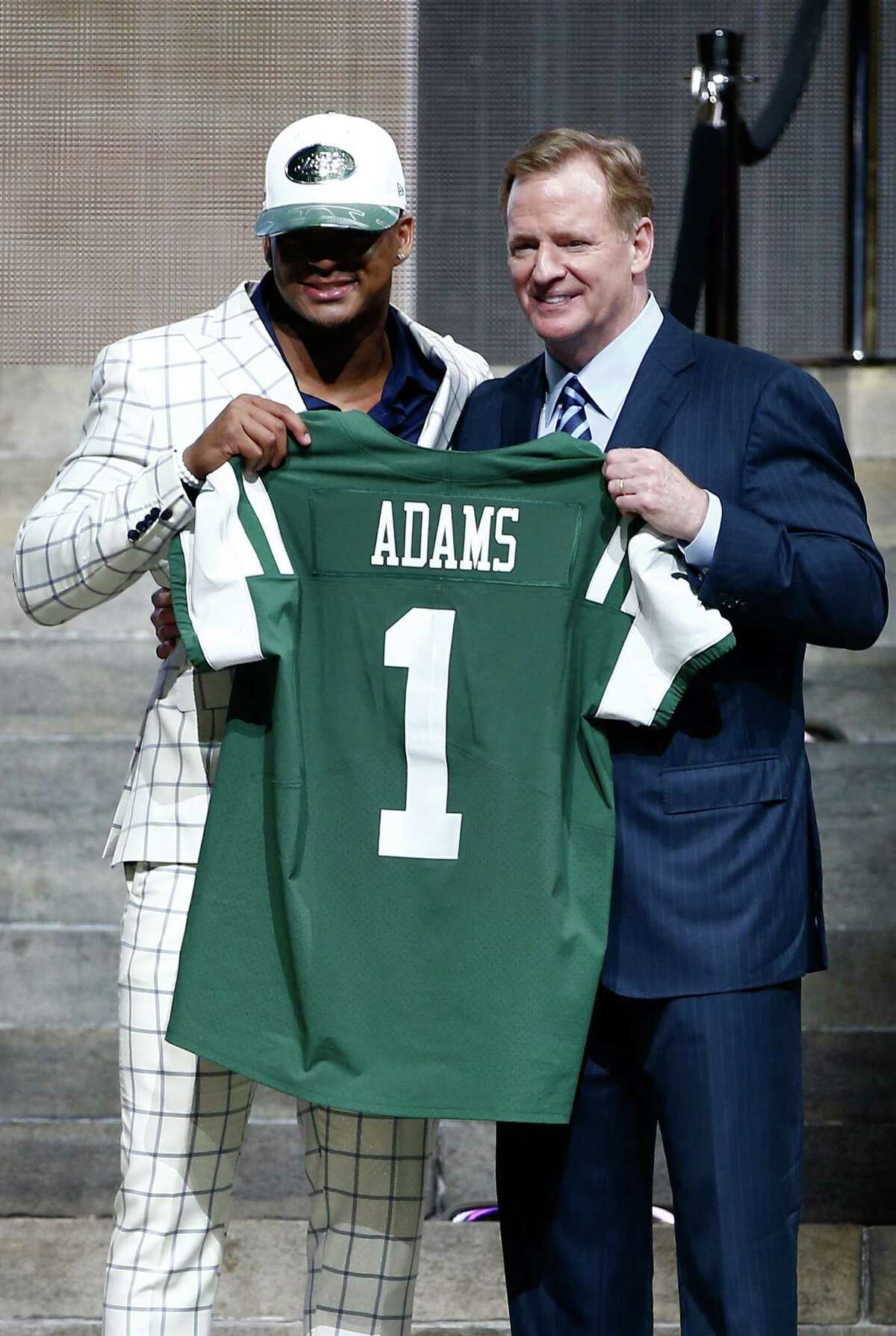 PHILADELPHIA, PA - APRIL 27: (L-R) Jamal Adams of LSU poses with Commissioner of the National Football League Roger Goodell after being picked #6 overall by the New York Jets during the first round of the 2017 NFL Draft at the Philadelphia Museum of Art on April 27, 2017 in Philadelphia, Pennsylvania. (Photo by Jeff Zelevansky/Getty Images) ORG XMIT: 700030902