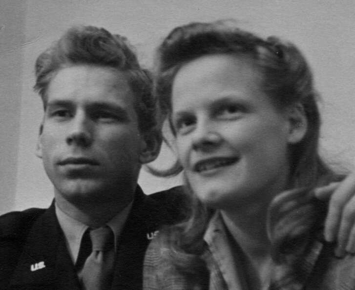 San Antonio real estate businessman Don Johnson is shown with his wife, Ann, in 1948. Johnson, 94, died April 13, 2017, at 94 years old. He and Ann were married nearly 70 years.