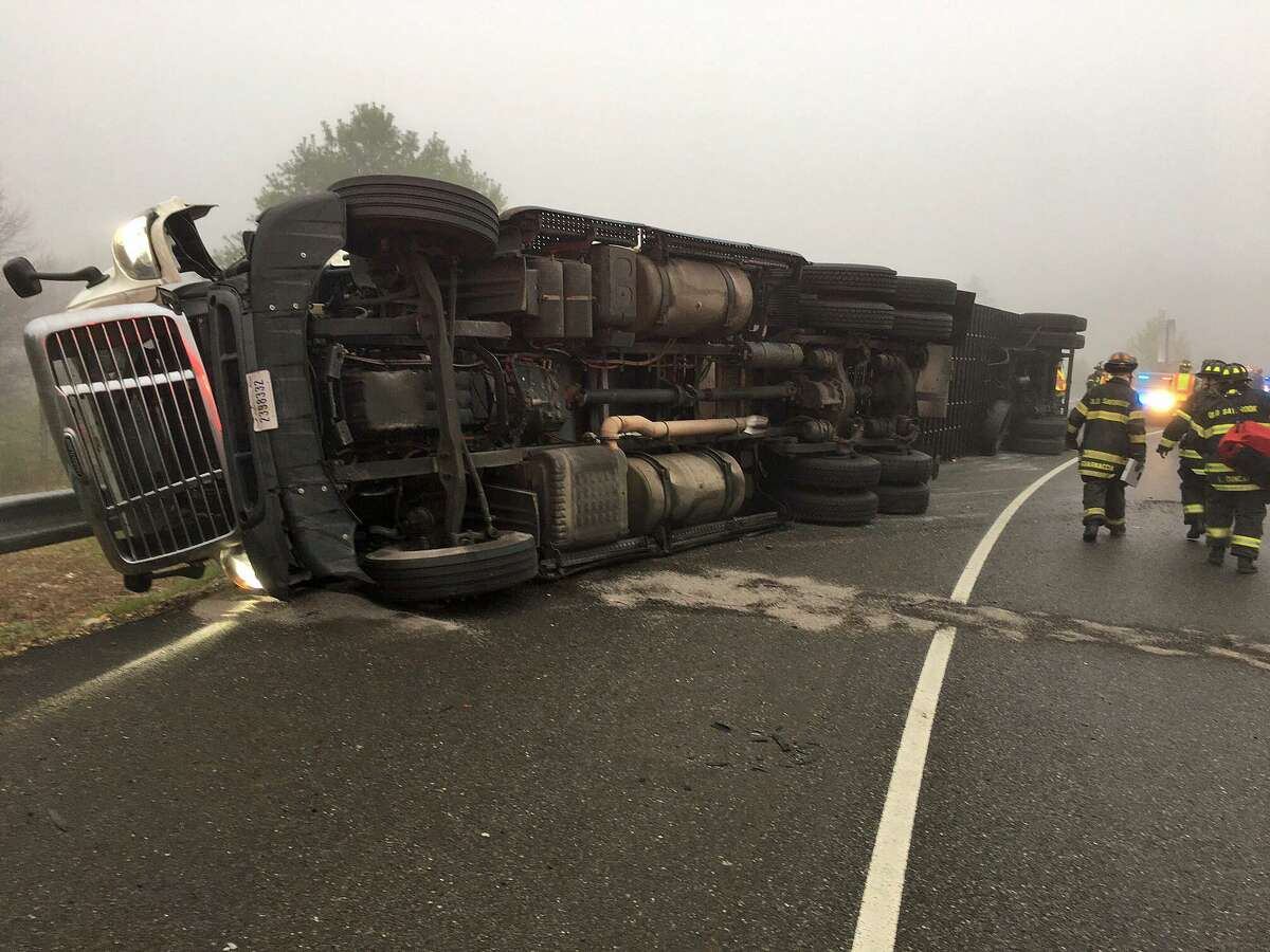A truck carrying 30,000 pounds of strawberries overturned on southbound I-95 in Old Saybrook on Friday, April 28, 2017. The road was shut down.