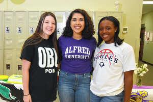 Rosehill Christian had three student-athletes sign with collegiate programs Thursday, (from left to right) Katie Hebert, Oklahoma Baptist University, Amanda Figueroa, Alfred University, and Hayley Johnson, Oklahoma Wesleyan University.