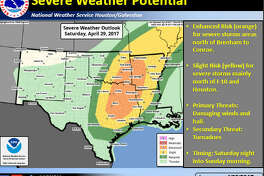 The National Weather Service is predicting Friday afternoon heat-index values in the upper 90s for southeast Texas. An upper-level storm system on Saturday, coupled with a surface cold front could produce severe storms.