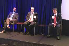 Event speakers were, from left, Shawn W. Cloonan, Mayor Stephen DonCarlos and Patrick Jankowski.