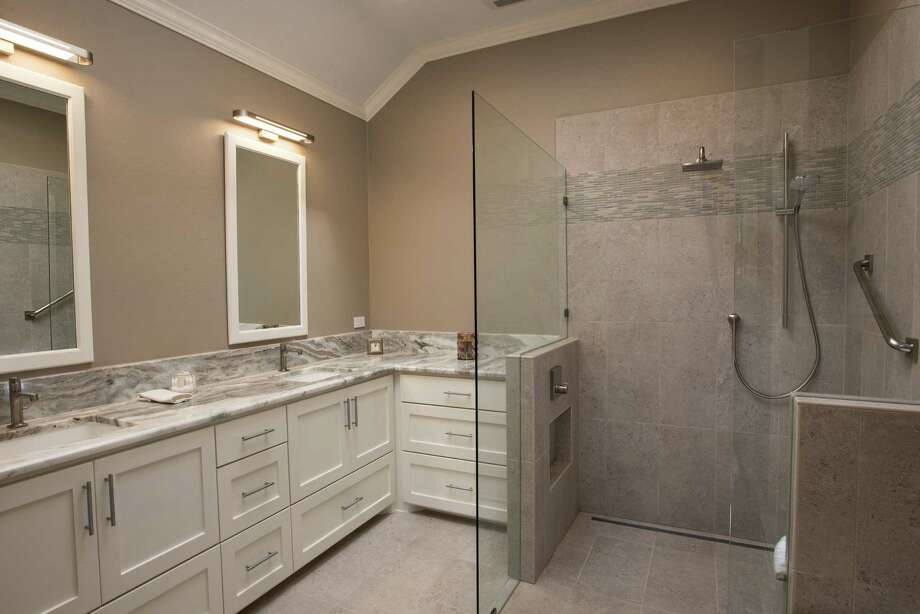 This is an example of aging-in-place master bathroom remodel. Photo: Courtesy Of Vick Construction & Remodeling