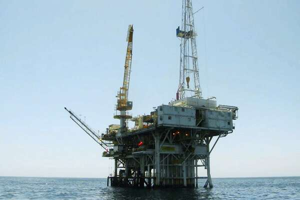 This undated photo provided by the California State Lands Commission shows Platform Holly, an oil drilling rig in the Santa Barbara Channel offshore of the city of Goleta, Calif. The platform will be decommissioned and its operator is seeking bankruptcy protection, nearly two years after the platform was idled when an onshore pipeline ruptured and spilled a massive amount of oil into the ocean, the state and Venoco LLC said Monday, April 17, 2017. (State Lands Commission via AP)