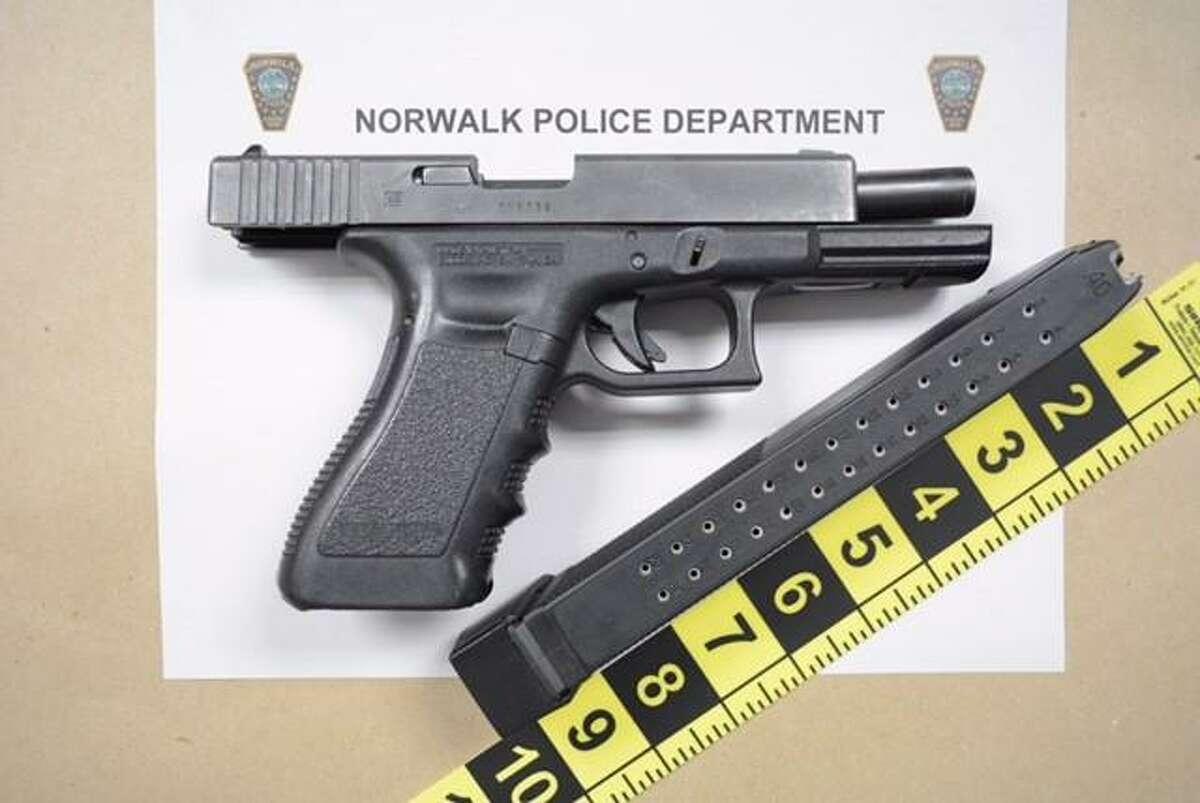 A handgun seized by police.