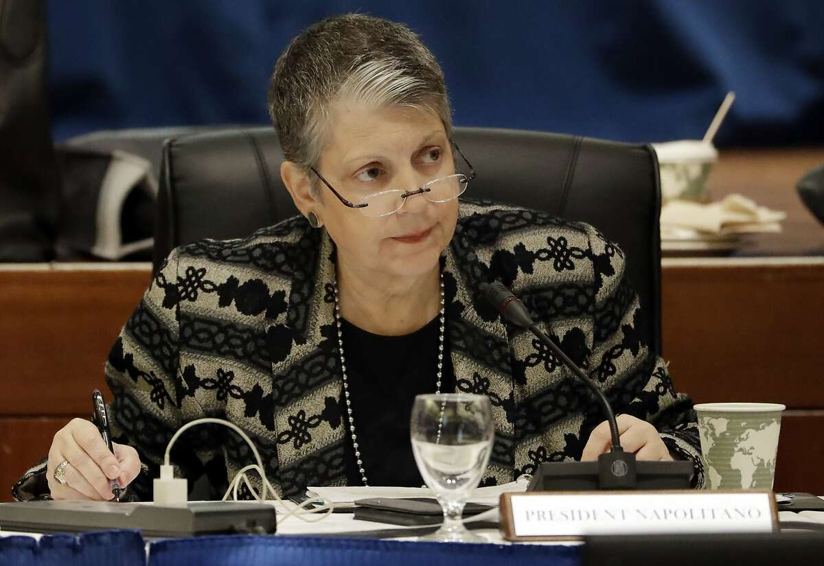 In this Wednesday, Jan. 25, 2017 file photo, University of California President Janet Napolitano attends a University of California Board of Regents meeting, in San Francisco.