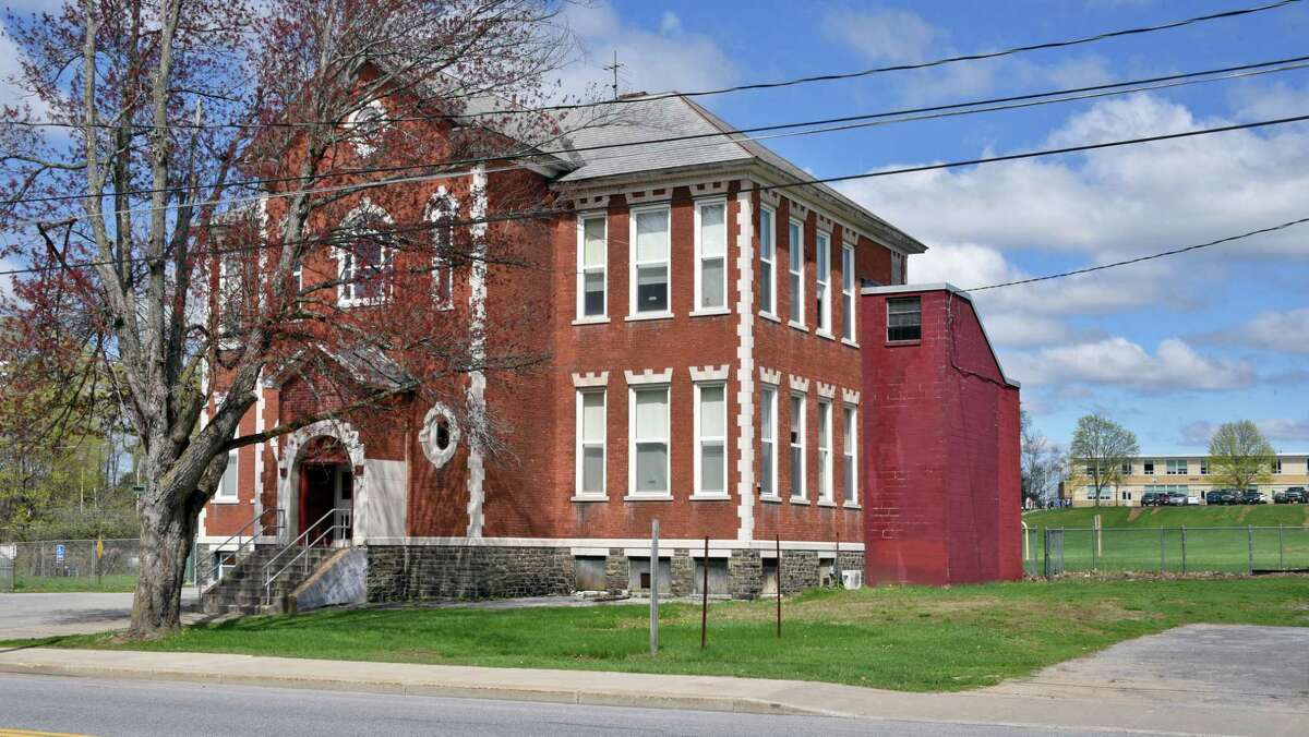 Main Street School, which the Corinth School District wants to demolish and pave Thursday April 27, 2017 in Corinth, NY. Historians are trying to save the structure. (John Carl D'Annibale / Times Union)