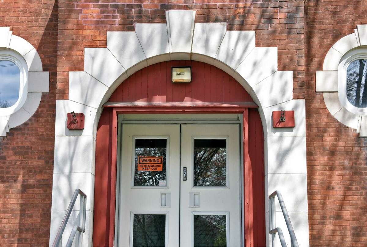 Entrance to the Main Street School, which the Corinth School District wants to demolish and pave Thursday April 27, 2017 in Corinth, NY. Historians are trying to save the structure. (John Carl D'Annibale / Times Union)