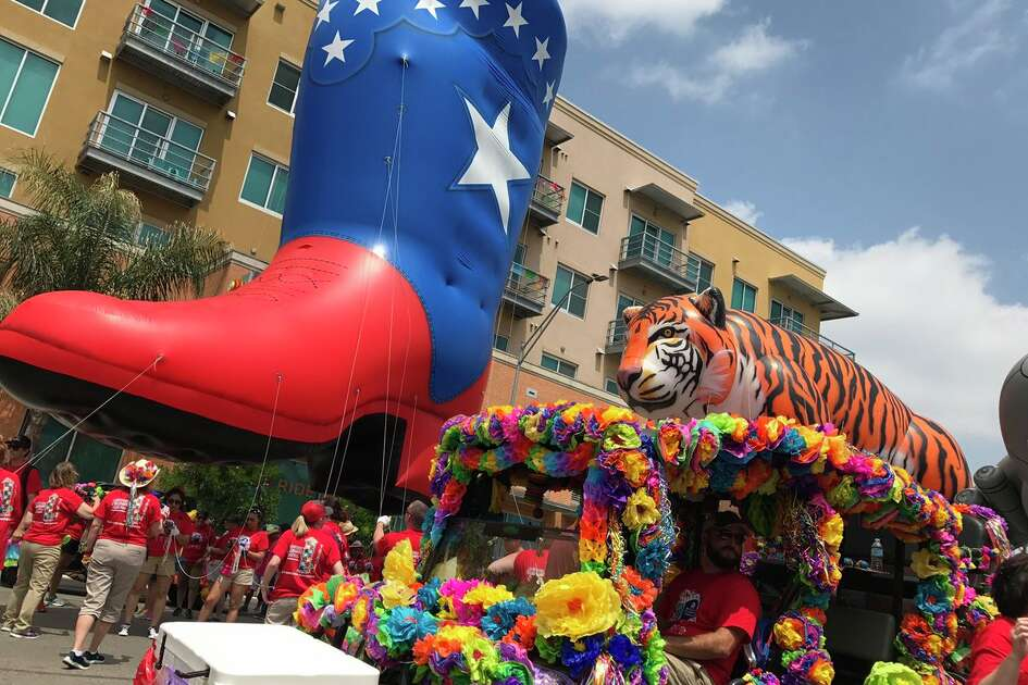 Floats seen in downtown San Antonio ahead of the Battle of Flowers parade on April 28, 2017. (Photo: Rene Guzman/ @reneguz )