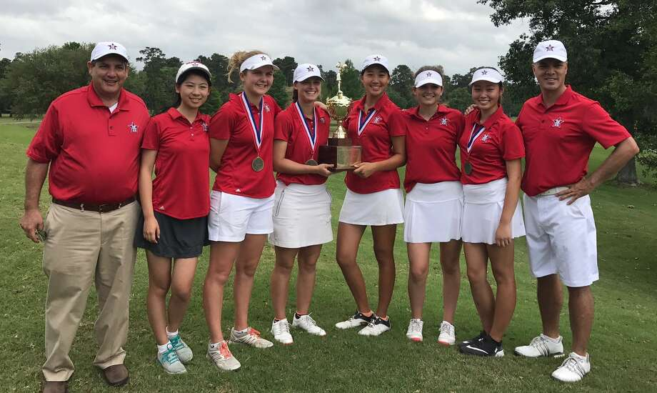 St. John's School won its first SPC championship in girls golf with a two-day total of 464, led by individual champion Christine Wang. The Mavericks' roster includes Denise Pan, Morgan Sholeen, Grace Wilson, May McCabe, Olivia Zhang, Lauren Childers, McKenna Grabowski, Eleanor Kate Habich and Margaret Shelburne. The team is coached by Joseph Soliman and Harris Forbes. Photo: Submitted Photo