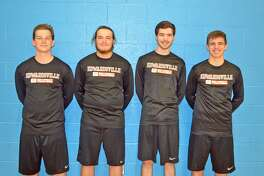 Pictured from left to right are EHS seniors Eric Brammeier, Will Bode, Joe Fitzgerald and Ben Lombardi. The four boys' volleyball players started playing the sport at St. Boniface.