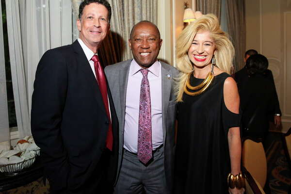 Houston Mayor Sylvester Turner, center, pose for a photo with Barry Mandel and Sofia Adrogue at the American Leadership Forum's Joseph Jaworski Leadership Award dinner at The Houstonian Wednesday, April 26, 2017, in Houston.