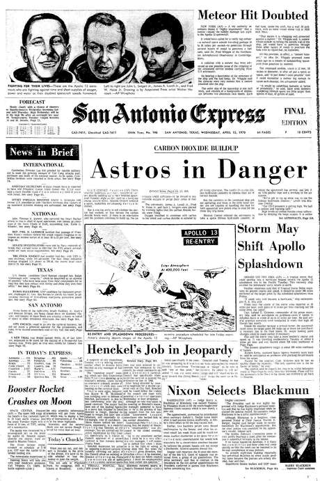 CARBON DIOXIDE BUILDUP: Astros in Danger. Front page of Apollo 13 mission Photo: Express Microfilm / Express Microfilm