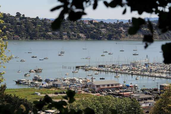 Boats anchored offshore outside of Bridgeway Marina in Richardson Bay, Sausalito, Ca. on Friday April 28, 2017.