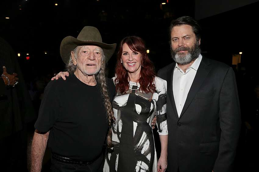 Willie Nelson, Megan Mullally and Nick Offerman attend the ACL Hall of Fame taping at ACL Live on October 12, 2016 in Austin, Texas.