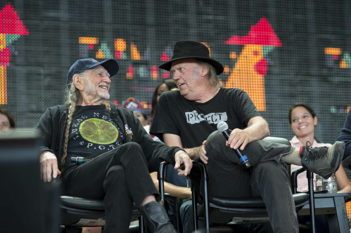 Willie Nelson and Neil Young at the Farm Aid press conference at Jiffy Lube Live in Bristow, Virginia on September 17, 2016.