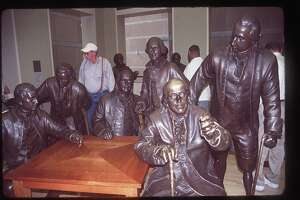 Elitism occurred at the very beginning of the country's creation — only white males with property could be one of the founding fathers. A statue of Benjamin Franklin sits amid the Founding Fathers in the National Constitution Center in Philadelphia in 2005/