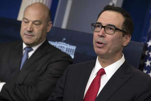 Treasury Secretary Steven Mnuchin, right, and Gary Cohn, chief economic advisor to President Donald Trump, announce the Trump administration's tax reform package on Wednesday.