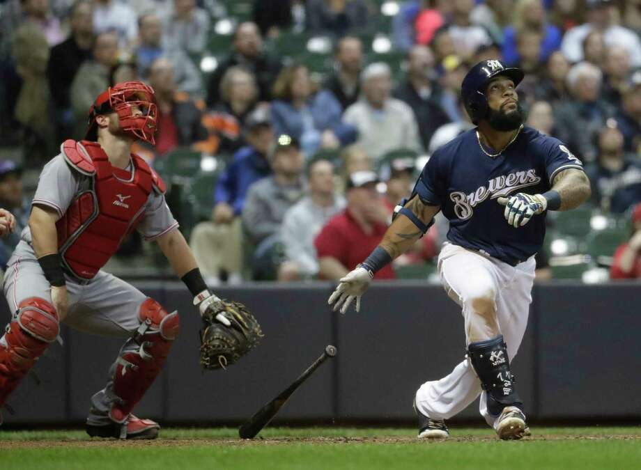 Milwaukee Brewers' Eric Thames hits a two-run home run during the sixth inning of a baseball game against the Cincinnati Reds Tuesday, April 25, 2017, in Milwaukee. (AP Photo/Morry Gash) Photo: Morry Gash, Associated Press / Copyright 2017 The Associated Press. All rights reserved.