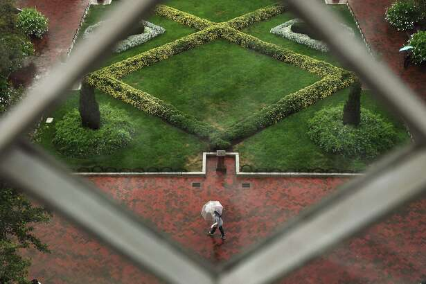 The Enid A. Haupt Garden, viewed from a window of the Smithsonian Castle.