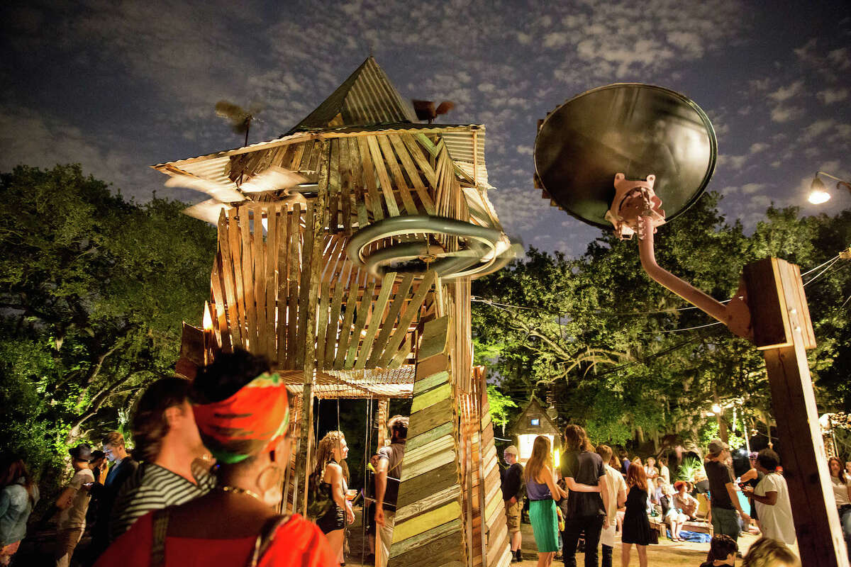 """Music Box Village is an art installation and music venue that features artist-made interactive """"musical houses"""" that can be used by the public or professional musicians. It is located in the Bywater neighborhood at 4557 N. Rampart, New Orleans"""