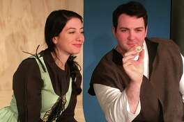 """""""The Man With The Glass Heart,"""" which tells the tale of a father and son, is on stage at Curtain Call's Dressing Room Theatre in Stamford, Thursday, May 4, through Sunday, May 14. Seen here are Danny Grumich as the son (Victor), and Alexandra Imbrosci-Viera as his love interest (Mindy)."""