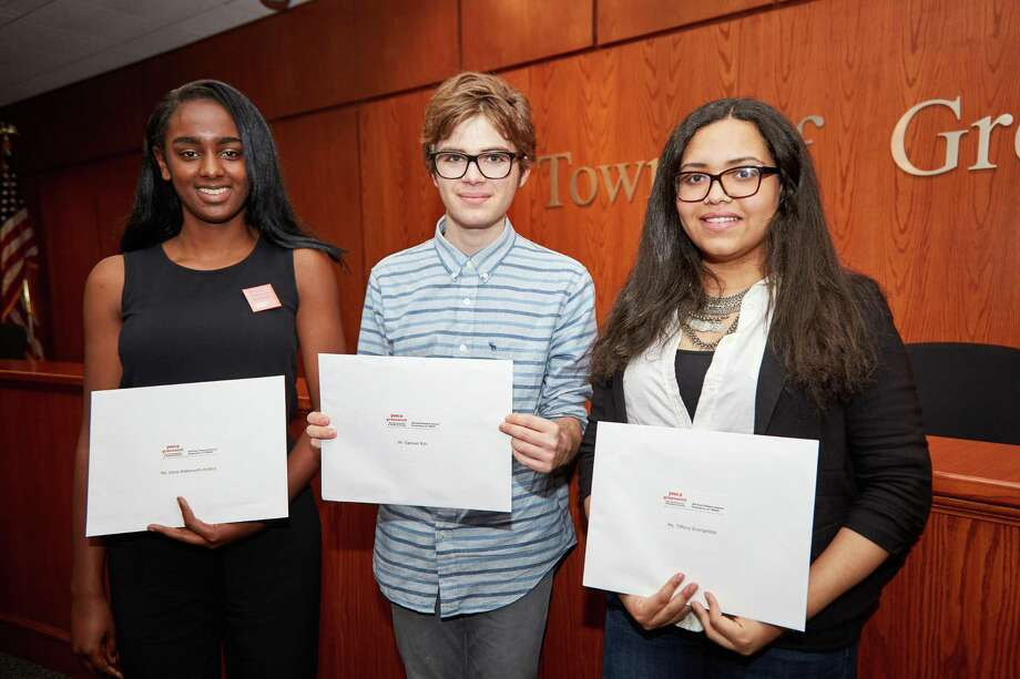 From left, Dana Wadsworth-Hutton from Greenwich Academy and Greenwich High School students Samuel Ryb and Tiffany Evangelista were winners of the 2017 YWCA Racial Justice Scholarship awards. Photo: Contributed Elaine Ulbina /