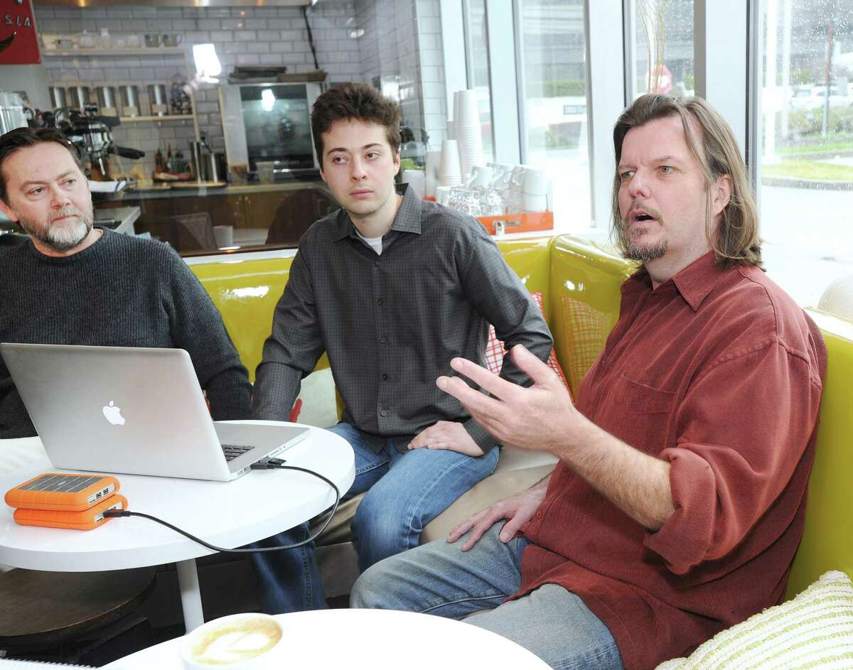 Music producers left to right, Tony Gillis, his son Christian Gillis and David Dill, speak about their music project during an interview at the J House Greenwich in the Riverside section of Greenwich, Conn., Thursday, April 6, 2017.