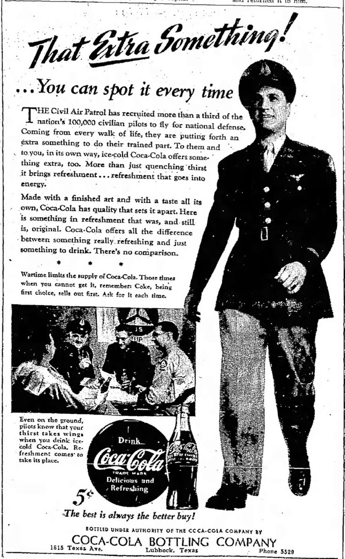 The Civil Air Patrol was an important component of America's defense strategy, particularly on the Home Front. That important point is made in a Coca-Cola-sponsored newspaper advertisement that originally appeared in the Aug. 8, 1943, edition of the Lubbock Avalanche-Journal.