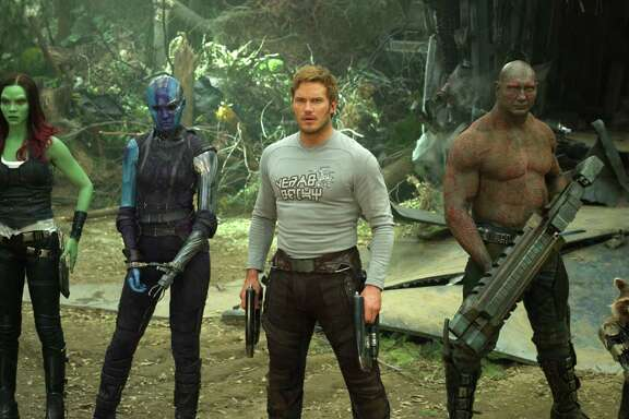 """Guardians of the Galaxy Vol. 2"" stars Zoe Saldana, from left, Karen Gillan, Chris Pratt, Dave Bautista and Rocket, voiced by Bradley Cooper. The sequel opens Friday."