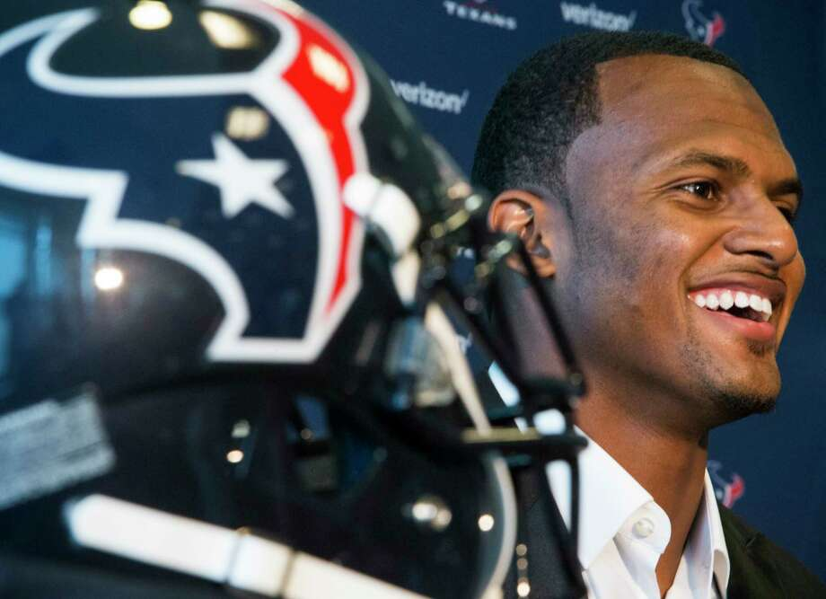 Houston Texans top draft pick Deshaun Watson smiles as he is introduced to the Houston media, the day after the Texans made the Clemson quarterback the 12th overall selection in the NFL Draft, during a news conference at NRG Stadium on Friday, April 28, 2017, in Houston. The Texans traded up in the draft with the Cleveland Browns to aquire Watson. Photo: Brett Coomer, Houston Chronicle / © 2017 Houston Chronicle