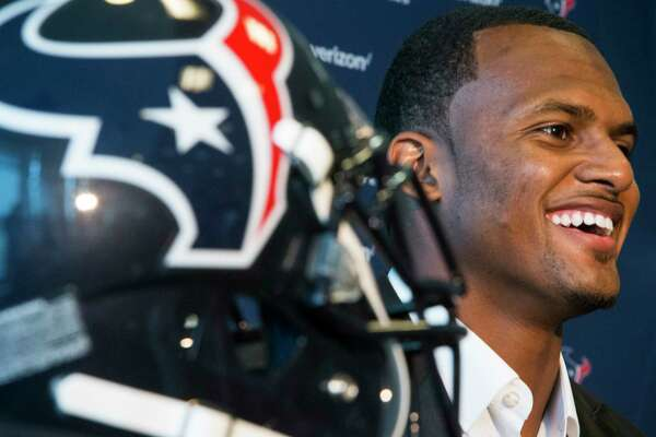 Houston Texans top draft pick Deshaun Watson smiles as he is introduced to the Houston media, the day after the Texans made the Clemson quarterback the 12th overall selection in the NFL Draft, during a news conference at NRG Stadium on Friday, April 28, 2017, in Houston. The Texans traded up in the draft with the Cleveland Browns to aquire Watson.
