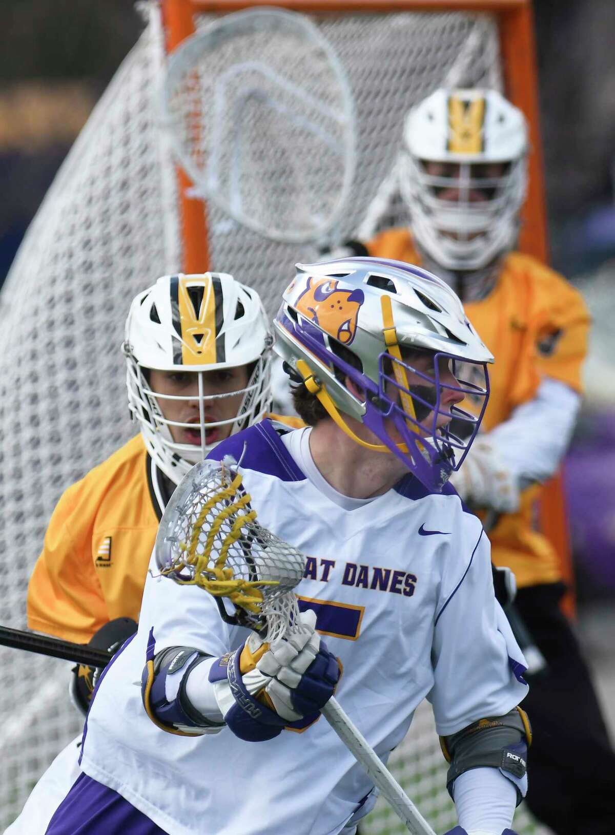 UAlbany's Connor Fields (5) moves the ball against UMBC's during a NCAA Division I men's lacrosse game on Saturday, April 7, 2017, in Albany, N.Y. (Hans Pennink / Special to the Times Union) ORG XMIT: HP119
