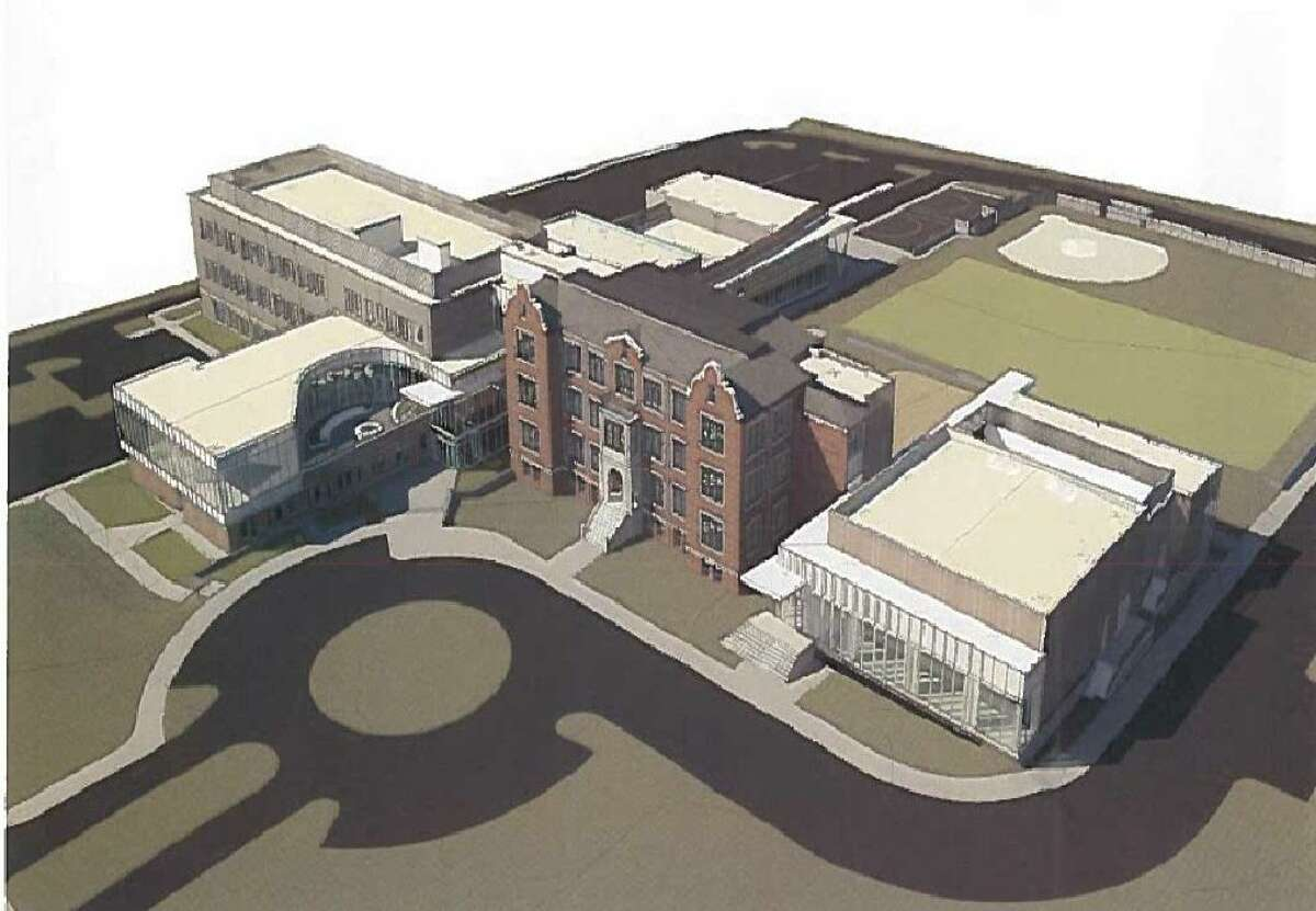 Newly unveiled renderings show the final design of Stamford's new magnet school on Strawberry Hill Avenue.