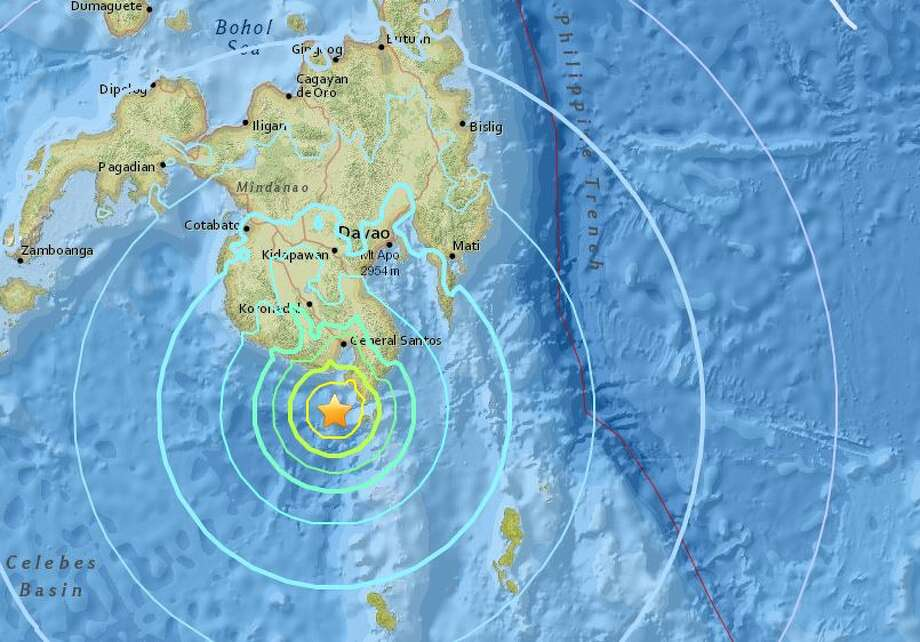 A large earthquake was recorded in the Philippines on Friday afternoon PST. Photo: USGS