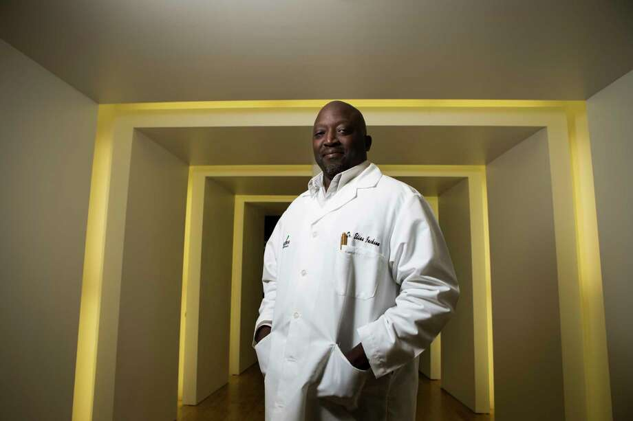 Dr. Elias Jackson runs Vyripharm Biopharmaceuticals in the TMCX& Innovation Institute. The research company is part of a joint venture with Houston-based Indoor Harvest Corp. and San Antonio-based Alamo CBD through which all three groups will be able to produce personalized medical cannabis for patients of epilepsy. Vyripharm will specifically be able to check real time effects of the drugs in patients and modify doses as needed. Wednesday, April 26, 2017, in Houston. ( Marie D. De Jesus / Houston Chronicle ) Photo: Marie D. De Jesus, Staff / © 2017 Houston Chronicle