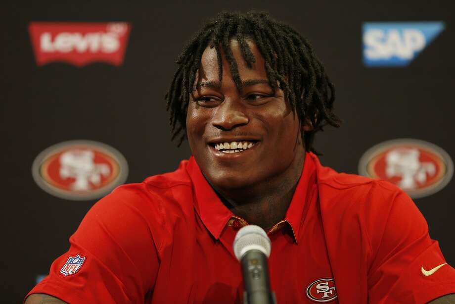 Reuben Foster during a news conference at Levi's Stadium on Friday, April 28, 2017, in Santa Clara, Calif. The San Francisco 49ers introduced Foster, who is a linebacker, and defensive end Soloman Thomas (not pictured) to their football team. Both were picked in the first round of the 2017 NFL Draft. Photo: Santiago Mejia, The Chronicle