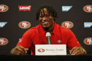 Reuben Foster during a news conference at Levi's Stadium on Friday, April 28, 2017, in Santa Clara, Calif. The San Francisco 49ers introduced Foster, who is a linebacker, and defensive end Soloman Thomas (not pictured) to their football team. Both were picked in the first round of the 2017 NFL Draft.
