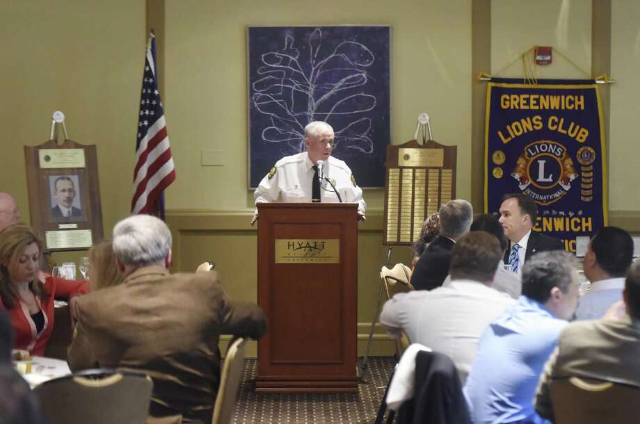 Greenwich Chief of Police James Heavey speaks during the annual John A. Clarke Awards Luncheon at the Hyatt Regency in Old Greenwich, Conn. Thursday, April 27, 2017. Presented on behalf of the Lions Club of Greenwich, the annual award is given to a member or members of the Greenwich Police Department to recognize oustanding achievements in the line of duty. This year's award was given to three narcotics detectives for their outstanding and compassionate work dealing with opiods. Photo: Tyler Sizemore / Hearst Connecticut Media / Greenwich Time