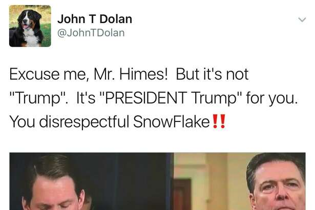 "In this March 20, 2017, post, Twitter user @JohnTDolan referred to U.S. Rep. Jim Himes, D-Conn., as a ""snowflake,"" a derogatory term for liberals."