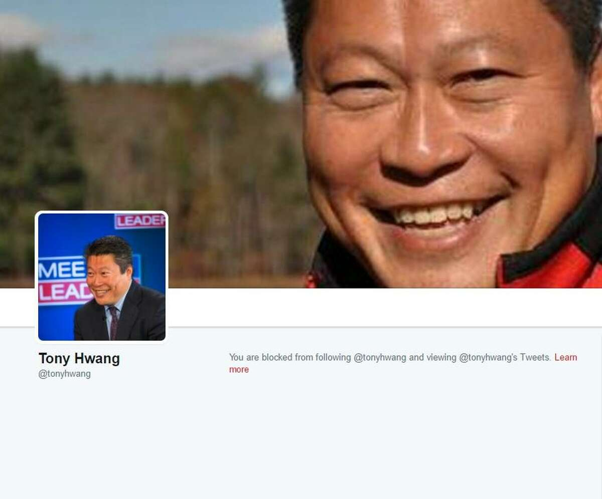 The Twitter profile of state Sen. Tony Hwang, R-Fairfield, shows that the account of the Connecticut Democrats @ctdems has been blocked.