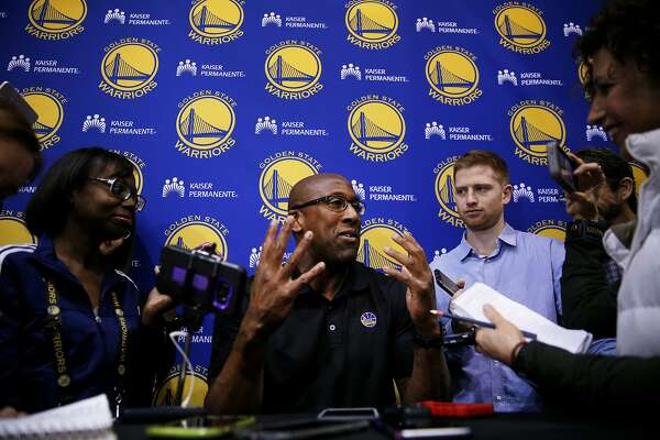 Golden State Warriors assistant coach Mike Brown answers questions from the news media at the Warriors training facility at the Oakland Convention Center on Wednesday, April 26, 2017, in Oakland, Calif.