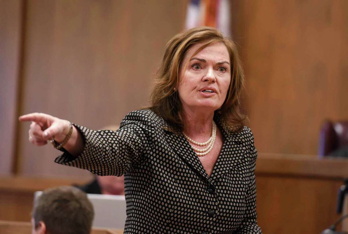 Warren County District Attorney Kate Hogan gives her opening statement to the jury Wednesday, April 18, 2017, in Warren County Court in Queensbury. Alexander West faces a 12-count indictment for the crash on Lake George July 25 that killed 8-year-old Charlotte McCue and seriously injured her mother. (Shawn LaChapelle/Pool photo)