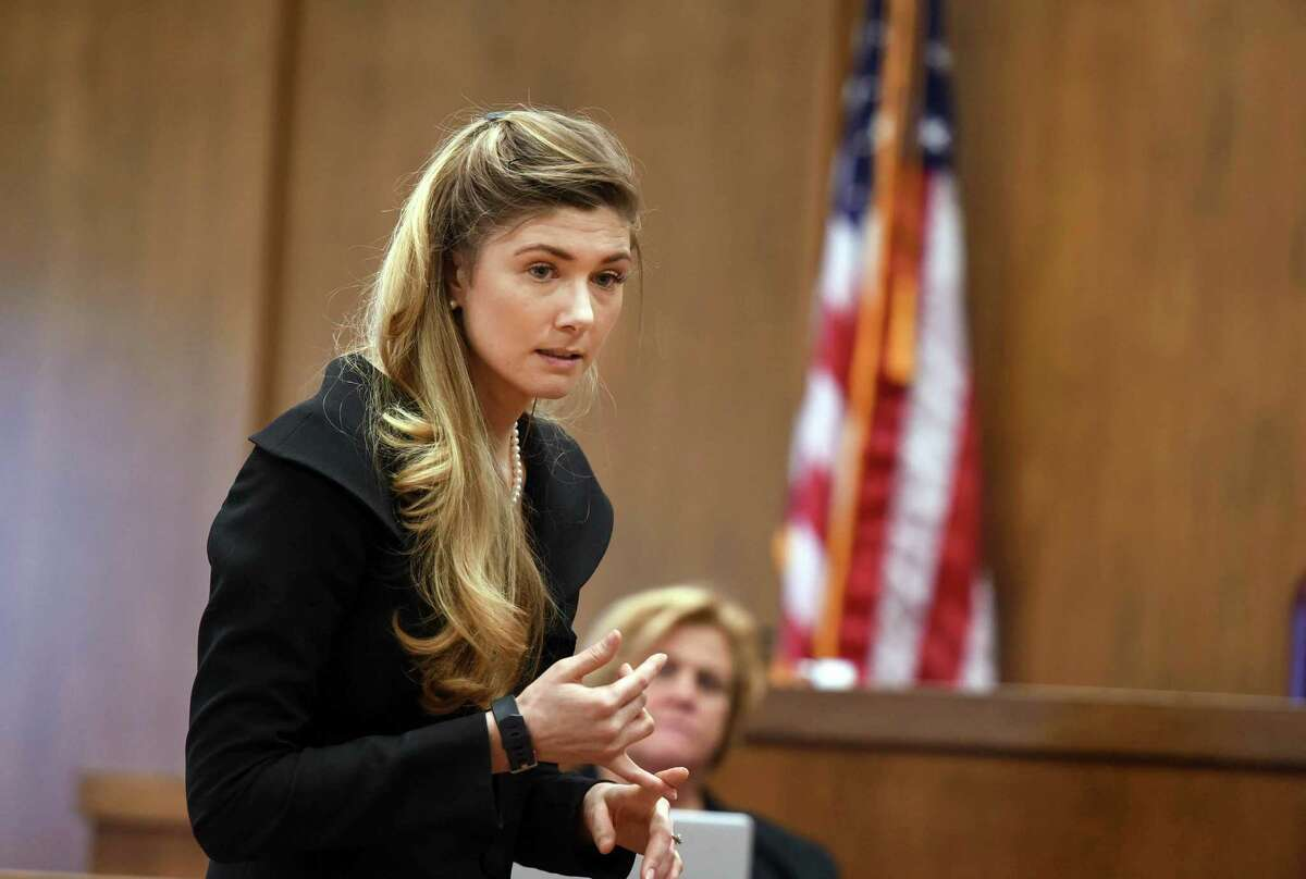 Defense attorney Kathryn Conklin gives her opening statement to the jury in the Alexander West trial on Wednesday, April 18, 2017, in Warren County Court in Queensbury. Alexander West faces a 12-count indictment for the crash on Lake George July 25 that killed 8-year-old Charlotte McCue and seriously injured her mother. (Shawn LaChapelle/Pool photo)
