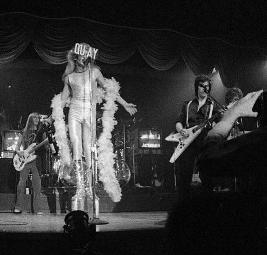 Quay Lewd commands the stage at the August 28, 1975 Tubes show at Bimbo's. Photo: Vincent Maggiora, The Chronicle