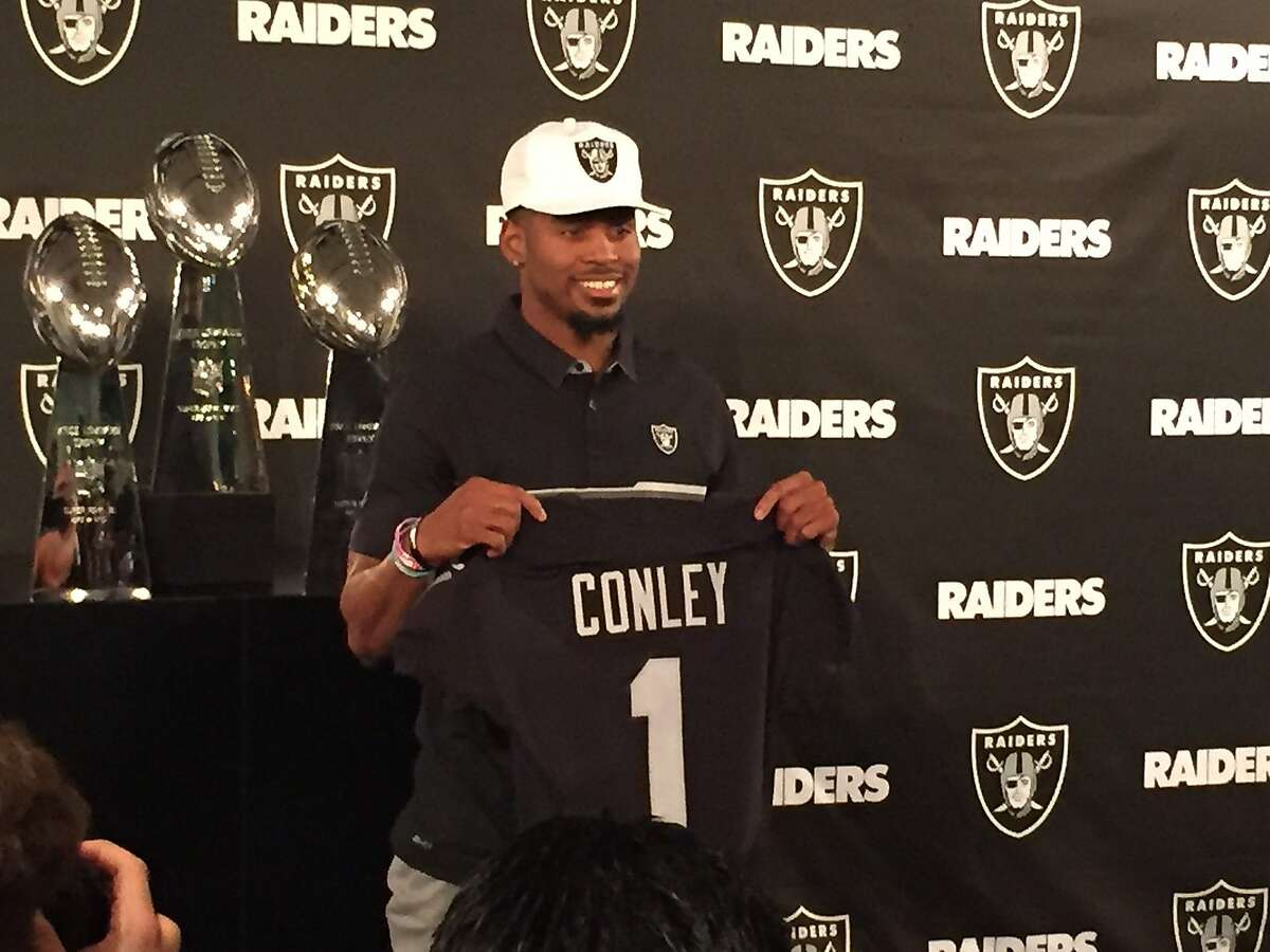Oakland Raiders first round selection of the NFL Draft, Gareon Conley on Friday April 28, 2017 at Oakland Alameda Coliseum in Oakland, Calif.