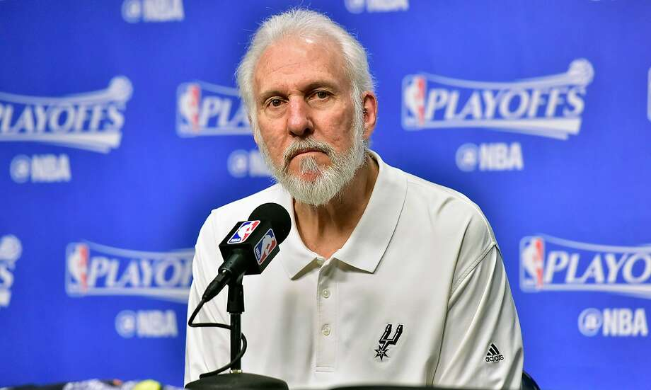 MEMPHIS, TN - APRIL 27:  Head coach Gregg Popovich of the San Antonio Spurs speaks to the media prior to Game Six of the Western Conference Quarterfinals game against the Memphis Grizzlies during the 2017 NBA Playoffs at FedExForum on April 27, 2017 in Memphis, Tennessee. NOTE TO USER: User expressly acknowledges and agrees that, by downloading and or using this photograph, User is consenting to the terms and conditions of the Getty Images License Agreement.  (Photo by Frederick Breedon/Getty Images) Photo: Frederick Breedon, Getty Images