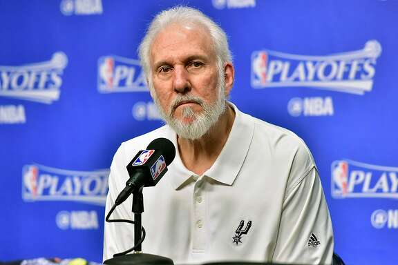MEMPHIS, TN - APRIL 27:  Head coach Gregg Popovich of the San Antonio Spurs speaks to the media prior to Game Six of the Western Conference Quarterfinals game against the Memphis Grizzlies during the 2017 NBA Playoffs at FedExForum on April 27, 2017 in Memphis, Tennessee. NOTE TO USER: User expressly acknowledges and agrees that, by downloading and or using this photograph, User is consenting to the terms and conditions of the Getty Images License Agreement.  (Photo by Frederick Breedon/Getty Images)